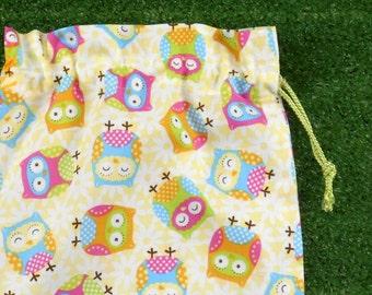 Owls small drawstring bag for gifts, toys, treasures, lemon yellow owl bag