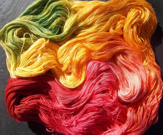 Lace weight 2ply Yarn Alpaca/ Silk Hand Dyed Elvincraft Painted Autumn Woodland