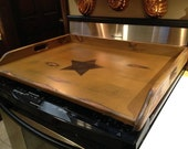 Primitive  Wood  Stove Top Cover Noodle Board, cutting board or tray with large black star