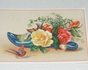 Antique Victorian Slipper Shoe Card with Pretty Roses and Bird Litho