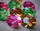 SALE 9pc 10/8 mm Oval Swarovski Crystal Loose Rhinestones Jewels Vintage Rose Topaz Peridot Faceted Pointed Back Stones 8/10 mm Lot 12GHI