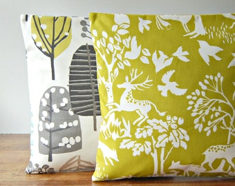 one decorative pillow cover chartreuse yellow, woodland deer fox squirrel birds cushion cover 16 inch / 40 cm