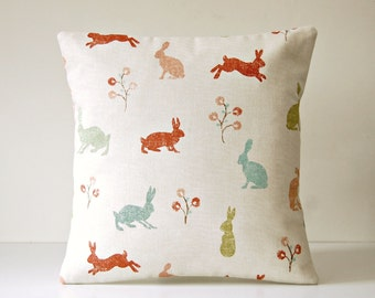 decorative pillow cover, blue green terracotta pink, Hare cushion cover 14 inch