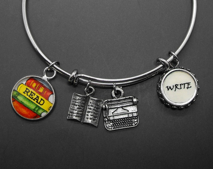 Writers Typewriter Book Bracelet Adjustable Stackable Bangle