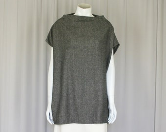 wool tweed tunic top, grey top, funnel neck oversized jumper size small