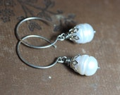 White Pearl Earrings Silver Hoop Earrings Rustic Jewelry Romantic Jewelry