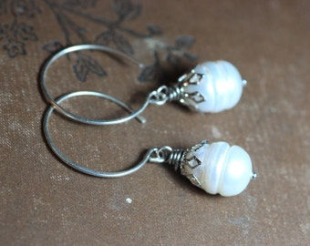 White Pearl Earrings Silver Hoop Earrings Rustic Jewelry Romantic Jewelry