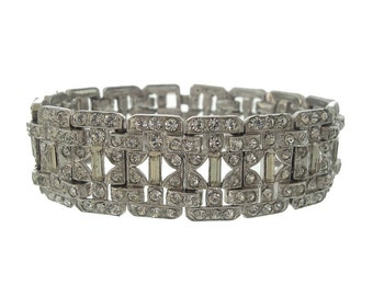 Vintage Rhinestone Art Deco Bracelet, Wide Octagon Baguette Link, Art Deco Jewelry, Fine 1920s Antique Wedding Jewelry, Bridal Jewelry