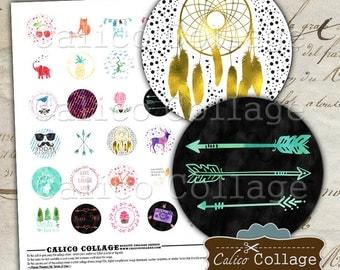 Modern Boho, Collage Sheet, 30mm Circles, Digital Circles, Boho Images, Printable Download, Images for Pendants, Printable Download