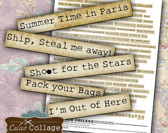 Lets Take A Trip Words Collage Sheet Altered Art Words Digital Altered Art For Journal Pages Scrapbooking Instant Download Printable