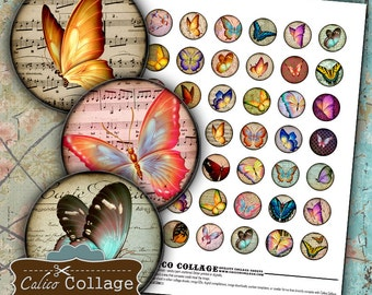 Spring Butterflies Digital Collage Sheet 1 Inch Circles Printable for Bottle Cap Jewelry, Bezel Settings, Resin Pendants, Butterfly Circles