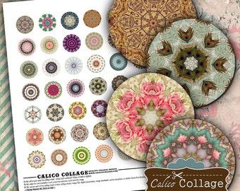 Mandalas, Digital Collage, Printable Circles, 1 Inch Circles, Bottle Cap Images, Boho Mandalas, Printable Download, Calico Collage