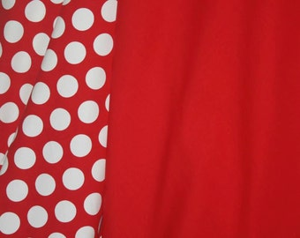 Christmas red dots and red solid knit cotton lycra