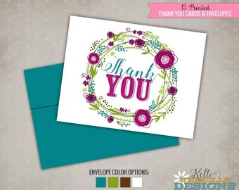 Floral Wreath Baby Shower Thank You Cards, Shower Thank You Notes #S102