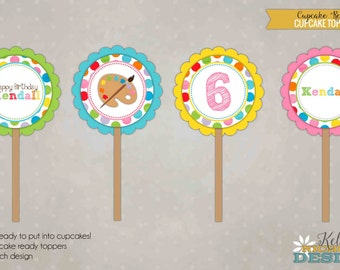 Custom Art Birthday Party Cupcake Toppers Template, Children Painting Party Decoration #B102