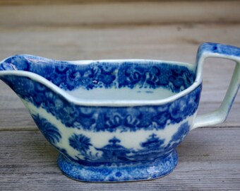 Staffordshire Oriental Flow Blue Creamer