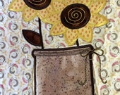 Quilted SUMMER Table Runner . . . Applique SUNFLOWERS . . . Vinyl  Jar Vase . . .  Changing of the Seasons