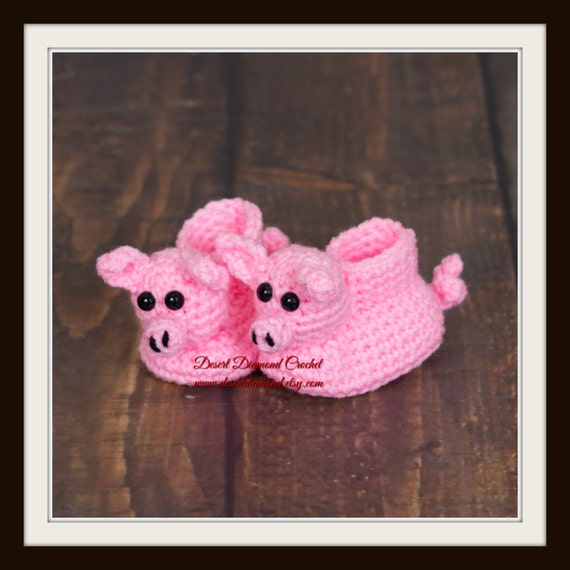 Pig Baby Booties - 5 Sizes - Made To Order