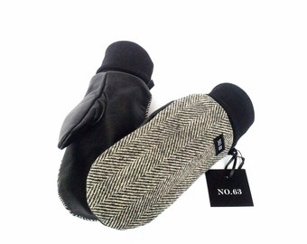 Gray Herringbone wool and black leather mittens