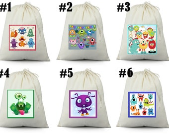 12 little Monster  Birthday Party Favor Candy Loot Treat Drawstring Bags