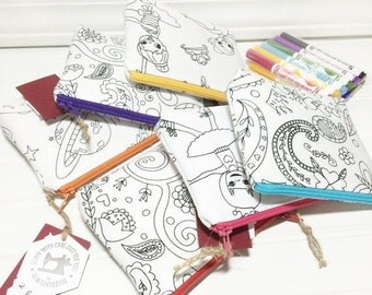 SUMMER SALE - PARTY Favors you can color with washable markers - 6 different prints you choose