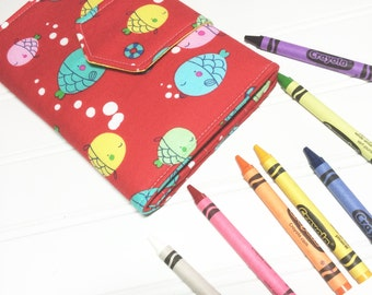 Crayon Wallet Children's Coloring Hip Trendy Toddler Travel - Ready to ship - Red fish