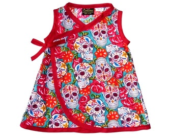 Skull Clothes - Girls Dress - Punk Rock - Day of the Dead - Rose - Conscious Childrens Clothes - Toddler Dress - Girls Dress - 4t - 5t - 6