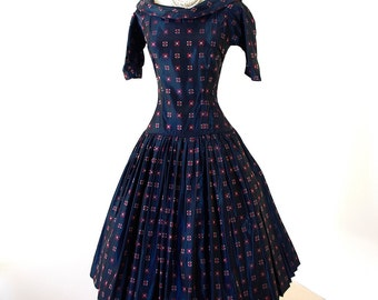 vintage 1950's dress ...dior-esque new look Ro-Nel of California iridescent navy jacquard full skirt w/crinoline underskirt party dress