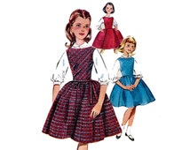 1960s Girls Jumper and Blouse Pattern Sleeveless Full Skirt Dress Peter Pan Full Sleeve Blouse Butterick 9850 Size 7 Vintage Sewing Pattern