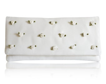 Ivory rosebud Flossie bridal clutch