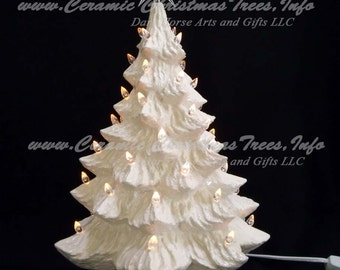 White Christmas Ceramic Christmas Tree w/ Music Box 16 in