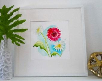 Watercolor Floral Original Painting, Floral Art, Botanical Painting, Gerbera Daisy, Flower Painting