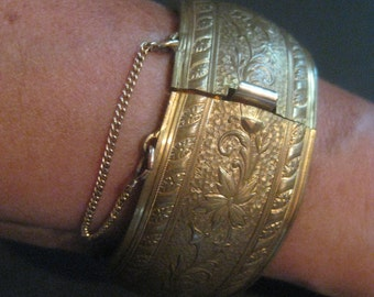 Vintage Brass Cuff with Floral design Latch and Safety chain Tribal