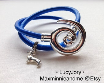 Dachshund Leather Charm Bracelet