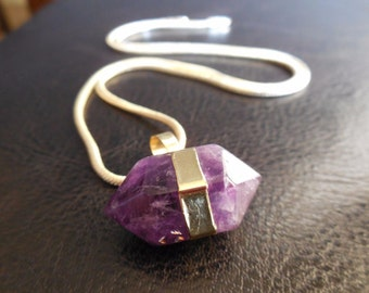 CHEROKEE AMETHYST ONE Inch Octagon W Brass Over Sterling Silver~Sobriety Stone, Healthy Boho!!!!