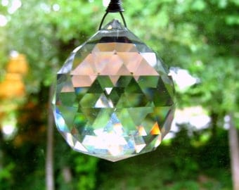 Hanging Crystal Suncatcher, Large 40mm, Genuine Asfour LEAD, Sun Catcher, Minimal Simple Chain, Good Energy, Feng Shui Gift, with Hardware