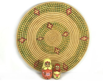 Vintage Woven Mat/Coaster, Natural Grasses with Green and Red Designs