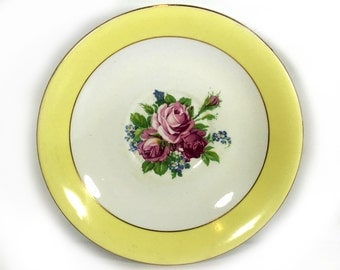 Vintage Saucer,Yellow with Floral Bouquet Center, by Taylor & Kent China, Made in London, England, Orphan Saucer