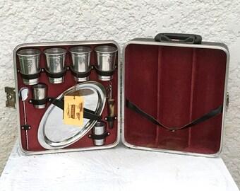 Vintage Dark Gray Hardshell Travel Bar with Aluminum Accessories, Bakelite Handles