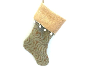 Christmas Stocking, Upcycled 100% Wool Stocking, Handmade Blue and Brown Woven Print Stocking