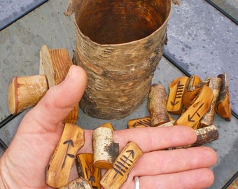 Birch Wood Ogham Set and Birch Bark Casting Cup