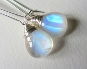 Smooth Rainbow Moonstone Earrings with Sterling Silver