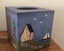 Primitive Sailboat Tissue Box Cover, lake scene