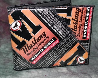 Bi-Fold Wallet from Recycled Mustang Brewing Washita Wheat Beer Labels