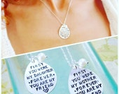 Mothers necklace, Hand stamped necklace, Mother of the bride gift, Daughter gift, wedding gift for mom, sentimental gifts, meaningful gifts