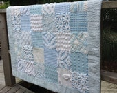 blue white chenille quilt shabby cottage home decor blue baby gift vintage quiltsy handmade
