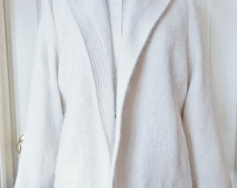 Pristine Condition Vintage Winter White Mohair Open Blazer Jacket Hollywood Glamor Beverly Hills FRESHLY DRY CLEANED