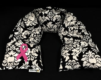 Breast Cancer Awareness Gift, Heated Neck Wrap, Microwave Heating Pad, Warm Hugs, Relaxation Gift, Hot Cold Therapy Wrap, Pink Ribbon