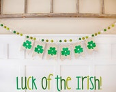 "St. Patrick's Day ""LUCK Of THE IRISH"" Wool Felt Ball Garland 8-10ft - Wool Felt Balls, Holiday Decor, Photo Prop, Ready To Ship!"