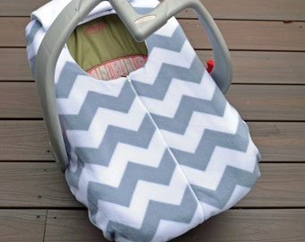 Gray Chevron Baby Car Seat Cover, Grey and White Carseat Blanket with Elastic, Modern Baby Shower Gift by Sophie Marie